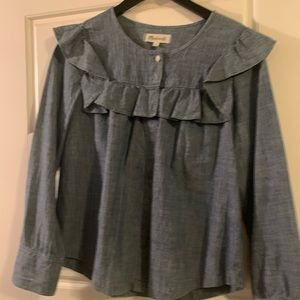 Madewell chambray prairie top